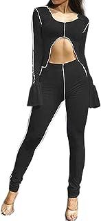 VWIWV 女式休闲2件套长袖喇叭袖露脐上衣和紧身长裤运动服套装
