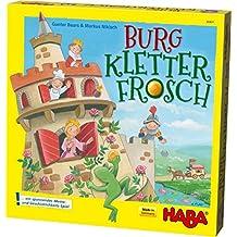 Haba 303631 - 城堡攀岩青蛙 令人兴奋的回忆和技巧游戏 带有 3D 结构和攀岩青蛙 用于拉木质 游戏,5岁以上