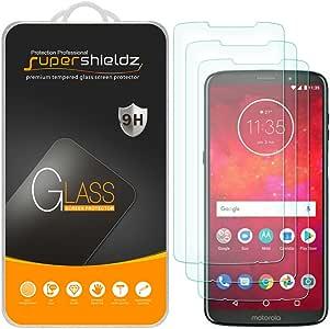 [3 件装] Supershieldz 适用于摩托罗拉 Moto Z3 Play 钢化玻璃屏幕保护膜,防刮擦,无气泡,终身更换保修