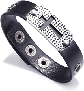 Nsitbbuery 嘻哈合金空心十字标签皮革腕带袖口手链