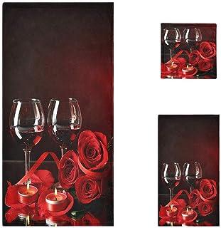 Naanle 3D 情人节红酒杯玫瑰柔软奢华装饰 3 件套毛巾,1 条浴巾 + 1 条手巾 + 1 条毛巾,多用途,适用于浴室、厨房、健身房、水疗和海滩
