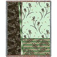 Pure Country Inc. 3856-T 植物样品翡翠毯毯子抱毯