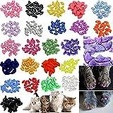 JOYJULY 140 只装宠物猫猫咪软爪盖控制软爪 4 只闪光颜色,10 个彩色猫*盖套 + 7 只胶粘胶 + 7 只装说明书 M