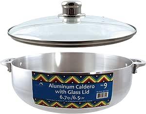 Euro-Ware 炉灶台重型铝卡路尔德罗,带可拆卸玻璃盖,内置蒸汽通风口 银色 6.7 Quart 338419