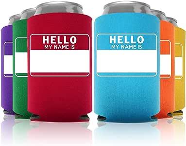Promotion & Beyond Hello My Name Is Customizable Name Tag(可定制的姓名标签)多色冷却器有 6、12 和 24 件可选 多件套