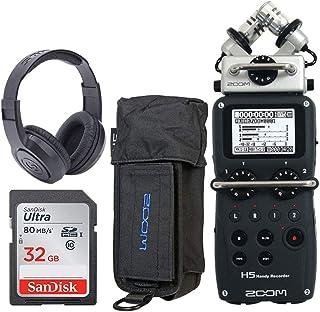 Zoom H5 4 输入/4 轨便携式便携式录音机带可互换 X/Y 麦克风胶囊 + Zoom PCH-5 保护套适用于 H5 + Samson SR350 头戴式立体声耳机 + 32GB 80MB/S 存储卡