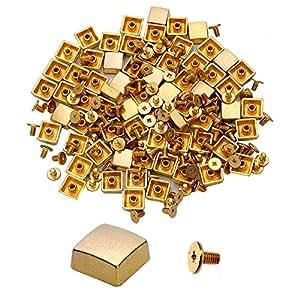 100 个锥形尖钉螺丝回旋螺柱 DIY 工艺冷铆钉朋克螺柱 Flashing Golden 方形 PS-SQ104G-100