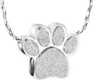 Imrsanl 爪印 Cremation Jewelry for Ashes 吊坠宠物缸项链纪念珠宝 猫狗灰项链
