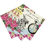 Talking Tables Truly Alice Dainty Party Napkins (20 Pack), Multicolor