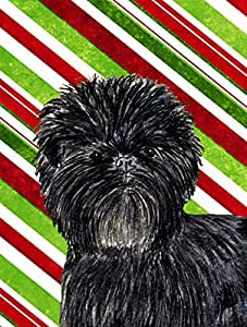 Affenpinscher Candy Cane Holiday Christmas Flag 多色 小号