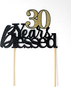 All About Details CAT30YB 30 Years Blessed Cake Topper 1 件生日 黑色和金色 6in wide, 8in tall CAT30YB