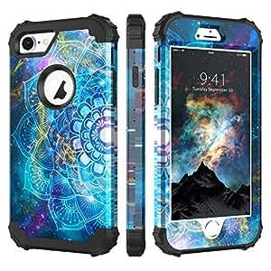 适用于 iPhone 7/iPhone 8 的 BENTOBEN 手机壳,3 合 1 混合硬质 PC 软橡胶重型坚固防撞防震防滑三层全机身保护壳,适用于 iPhone 7/iPhone 8 K382-Mandala in Galaxy