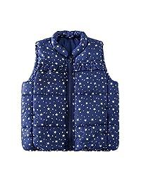 SNOW DREAMS 女孩羽绒背心 星星印花 立领 拉链无袖绗缝夹克
