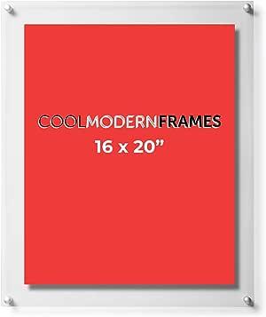 炫酷现代框架透明浮动双层丙烯酸图片 Silver Hardware 16x20-Inch, GMS1923D