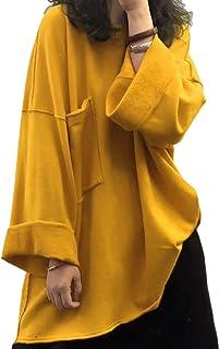 Yesno JG6 女式休闲宽松上衣衬衫,扣角领夹克,V 领,长蝙蝠翼袖,褐色,2 层