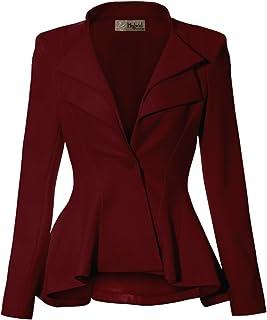 HyBrid & Company 女式双缺口翻领垫肩式办公室西装外套  Wine-dressy & Premium Weight 1X