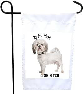 Rikki Knight My Best Friend is a White Shih Tzu Dog House or Garden 旗帜,30.48 x 45.72 cm 旗帜尺寸带 27.94 x 27.94 cm 图像