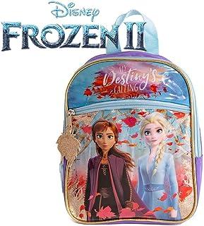 Disney 冰雪奇缘 2 公主 Elsa & Anna 迷你背包 适合女孩和幼儿 - 10 英寸,紫色和蓝色闪光
