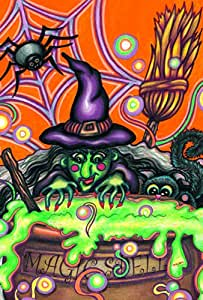 Toland Home Garden Magic Spell 12.5 x 18 Inch Decorative Colorful Halloween Witch Cauldron Cat Spider Garden Flag