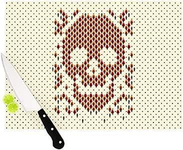 """Kess InHouse """"Deforestation""""Tobe Fonseca 玻璃切割板,骷髅插图 Skull Illustration 11 by 7.5"""" TF2002ACB01"""