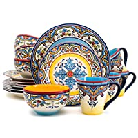Euro Ceramica Zanzibar Collection Vibrant 16 Piece Earthenware Dinnerware Set, Service for 4, Spanish Floral Design, Multicolor