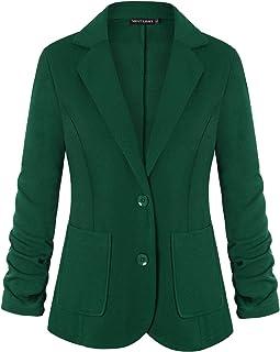 Unifizz 女式休閑辦公西裝外套口袋紐扣西裝外套 3/4 袖