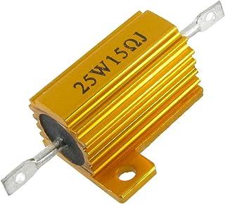 Sourcingmap a12040600ux0256 25 W 15 Ohm 5% 金色调底盘支架金属包边铝垫 电阻