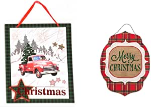 "Plum Nellie's Treasures 红色卡车圣诞装饰 - 2 个装圣诞悬挂标志 - 红色卡车、圣诞树、圣诞树主题 Red Truck Christmas & Merry Christmas Plaid 13"" x 13"""