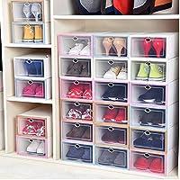 加厚大号防潮透明翻盖鞋盒 家用抽屉式简易收纳盒防尘自由组合男女鞋整理盒宿舍 (女款粉色12个装)