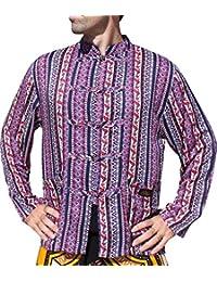 Raan Pah Muang 品牌长袖 Viscose 正式中国衬衫 泰国大象印花