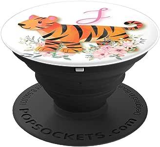 可爱的老虎粉色花交织字母名字首字母 J - PopSockets 手机和平板电脑握架260027  黑色