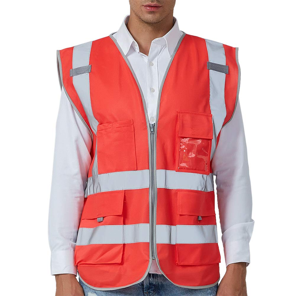 GOGO US 加大加长 9 个口袋高可见度拉链前*背心带反光条符合 ANSI 标准 US L 红色 AS80670_RED-USL