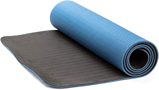 Mind Reader 2TONEMAT-BLU,经典 1/4 英寸专业环保防滑健身垫,双色健身垫,适用于瑜伽、普拉提和地板锻炼,高级 TPE 材质,蓝色/黑色