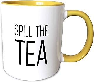 3dRose Tory Anne 系列引语 - Spill The Tea - 马克杯 黄色/白色 11-oz Two-Tone Yellow Mug mug_288485_8