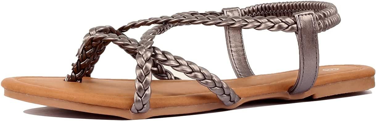 Guilty Heart 女士交叉夏季角斗士编织舒适瑜伽系带平底凉鞋 Pewter Pu 9 M US