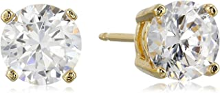 Sterling Silver Round Cubic Zirconia Stud Earrings (1.62 cttw)