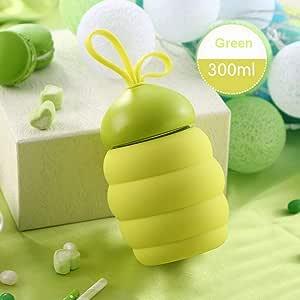 yohom 玻璃水瓶便携式软硅胶旅行瓶带刷子儿童 PVC 4色可选 Green300ml