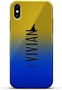 豪华设计师,3D 印花,时尚,高端,变色效果手机壳,适用于 iPhone Xs/X - 黄昏蓝小白色棒球图案LUX-IXCRM2B-NMVIVIAN2 NAME: VIVIAN, MODERN FONT STYLE 蓝色(Dusk)