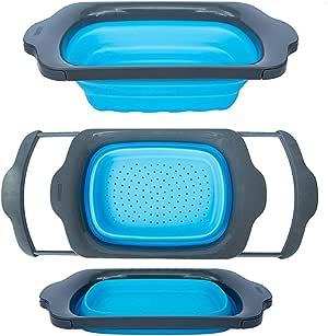 Colander 可折叠 - *和灰色 - 带手柄的水槽套口 - 可折叠厨房 6 夸脱容量 - Comfify 出品 蓝色和灰色 FBA_CM201523-BL