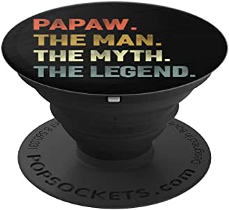 Papaw The Man The Myth The Legend Grandpa 父亲节礼物 PopSockets 手机和平板电脑握架260027  黑色