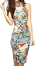 Arctic Flower Summer Floral Printed Sleeveless Slim Fit Midi Sheath Tank Sun Dress