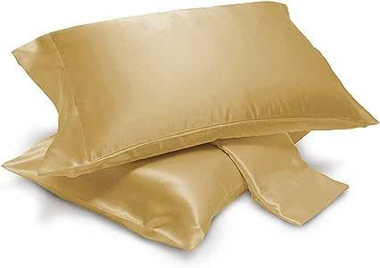 ALEXANDRA'S SECRET Home 系列 2 件套丝绸缎枕套 青铜色 King