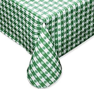 "Fairfax Collection Tavern Check 经典餐厅品质法兰绒背乙烯基桌布 绿色和白色 52""x90"" Oblong (Rectangle) COMINHKPR07019"