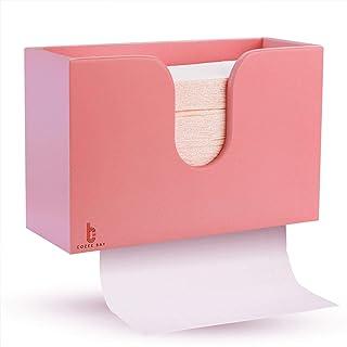 竹制纸巾分配器,厨房浴室卫生间卫生间卫生间家庭和商用,壁挂或台面,多折叠,C折叠,Z折叠,三折手巾 粉红色