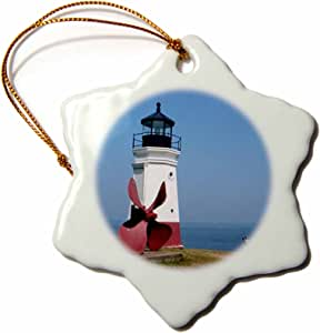 3dRose orn_61711_1 Vermilion Lighthouse Looking Over Lake Erie-Snowflake Ornament, Porcelain, 3-Inch