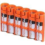 Powerpax Storacell SlimLine AAA 6 件装电池盒,橙色 Holds 6 Batteries SLAAAORG