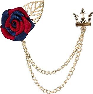 AN KINGPiiN 红蓝玫瑰金叶和皇冠吊链翻领别针,胸针西装铆钉,衬衫铆钉男士配饰