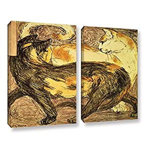 "ArtWall Franz Marc's Two Cats 2 Piece Gallery Wrapped Canvas Set, 36"" x 48"""