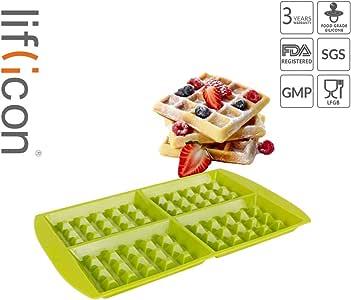 liflicon 4cavities waffle 模具硅胶烘焙底盘模具适用于 waffle ,不含 BPA 烤箱/微波炉/洗碗机/冷冻机保险柜 绿色
