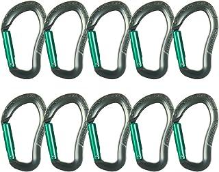 Fusion Climb Techno Zoom 铝制直门符合人体工程学 CE UIAA 认证登山扣灰色/绿色 10 只装